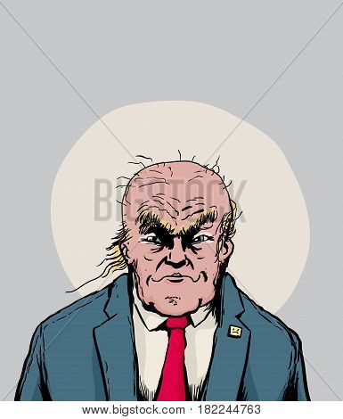 Donald Trump With Balding Head And Smirk