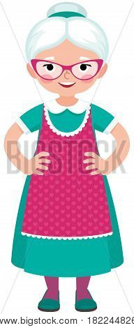 Grandmother a housewife in an apron in full growth on a white background cartoon vector illustration