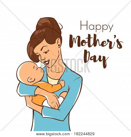 Vector hand drawn colorful illustration of happy mother with a newborn baby. Mother's day greeting card template.