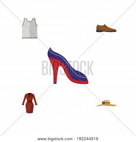 Flat Dress Set Of Heeled Shoe, Elegant Headgear, Singlet And Other Vector Objects. Also Includes Headgear, Woman, Tank Elements.