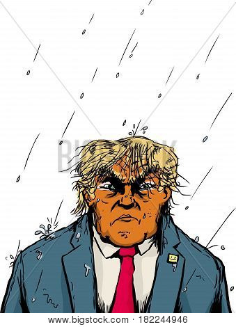 Soaking Wet Orange Trump In Rain