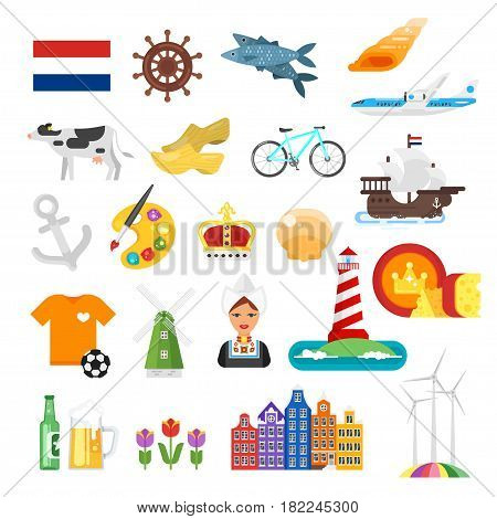 Vector flat style set of Netherlands national cultural symbols. Icon for web. Isolated on white background.