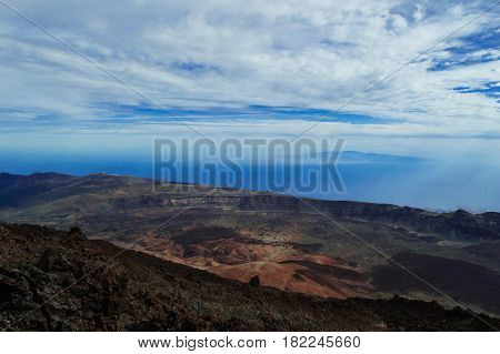 A fascinating view of the Atlantic Ocean from the Teide volcano. Canary Islands, Tenerife Island, Spain