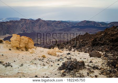 View to the south of the island and of the Atlantic Ocean from the Teide volcano. Canary Islands, Tenerife Island, Spain