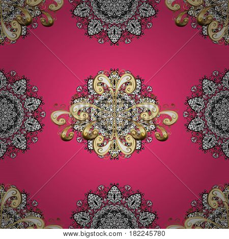 Floral tiles. Islamic design. Golden pattern on pink background with golden elements. Vector golden textile print. Seamless pattern oriental ornament.