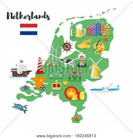 Vector flat style illustration of Netherlands map with Holland national cultural symbols. Isolated on white background.