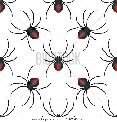 Vector flat style seamless pattern with dangerous black widow spider.