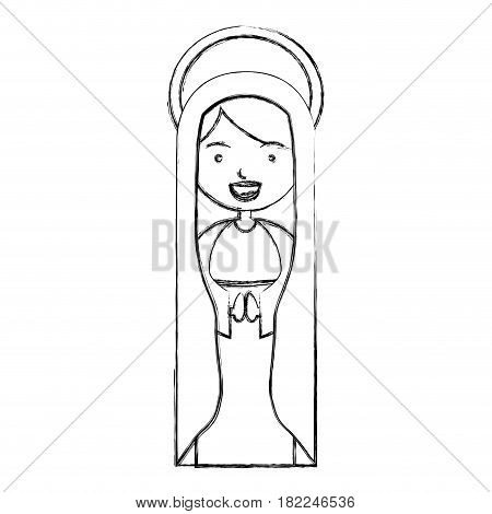 monochrome sketch contour of beautiful virgin with mantle and aura vector illustration