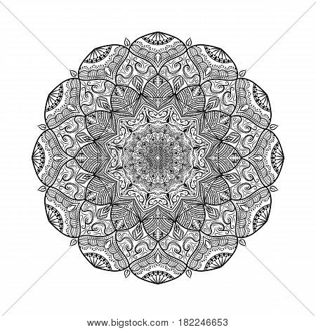 Floral mandala. Vector illustration on asian motive with many small details. Outline element for print design, cover, flayer, banner.