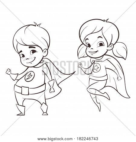 Vector hand drawn monochrome illustration of two happy super hero kids characters.