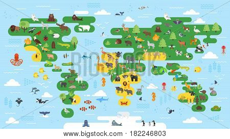 Vector flat style big abstract world map with animals. Colorful vector illustration for children with all continents for preschool education.