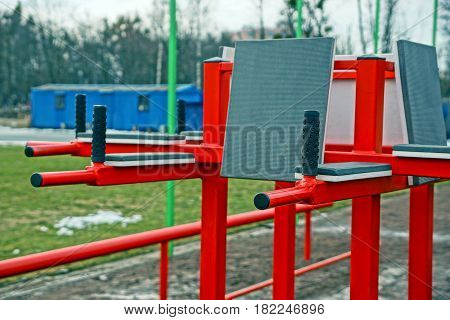 Red iron bars in the sports field