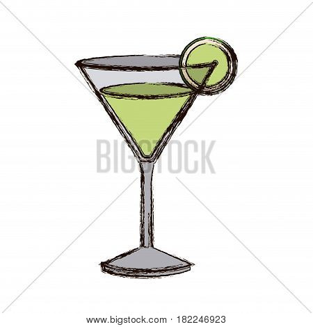 color blurred silhouette of drink cocktail glass vermouth vector illustration