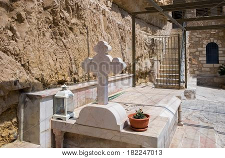 A Hermit Monk Tombs In St George Orthodox Monastery, Located In Wadi Qelt, Israel