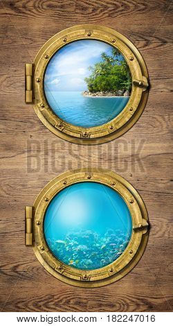 Two ship windows with ocean tropical island and underwater deep 3d illustration