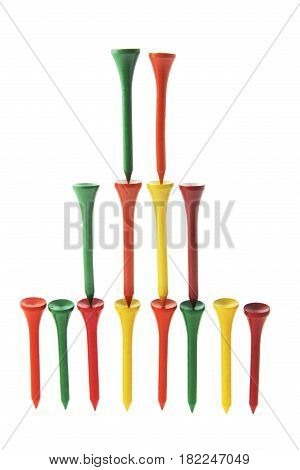 Arrangment of Golf Tees on White Background