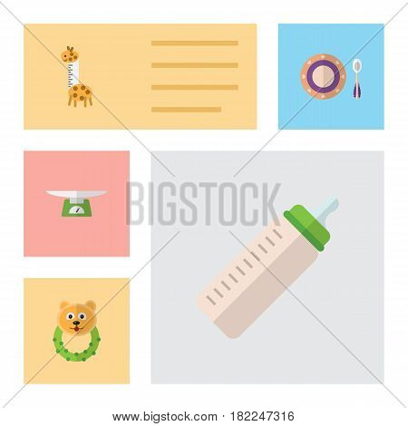 Flat Infant Set Of Feeder, Rattle, Toy And Other Vector Objects. Also Includes Feeder, Baby, Rattle Elements.