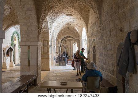 ST. GEORGE MONASTERY, ISRAEL - APRIL 8 , 2017: Interior of St George Orthodox Monastery, located in Wadi Qelt, Israel