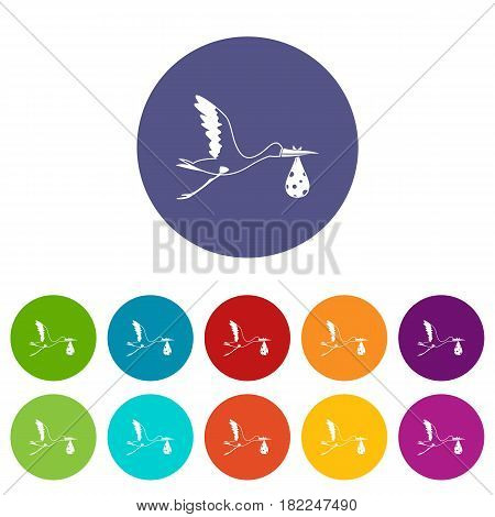 Stork carrying icons set in circle isolated flat vector illustration