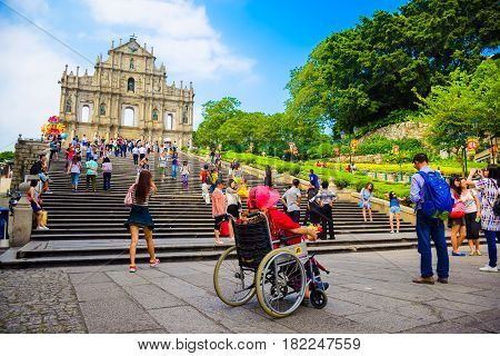 Macau China-September 18 2015: The ruins of St. Paul's is a 17th-century Portuguese church. It is the most crowded tourist attraction and one of Macau's best known landmarks.