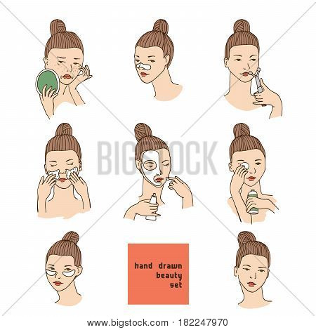 Color vector set with women head in different conditions mood and angle. Cosmetology procedures like treatment and facial masks for lips eyes and skin. Girl takes care of her skin and face.
