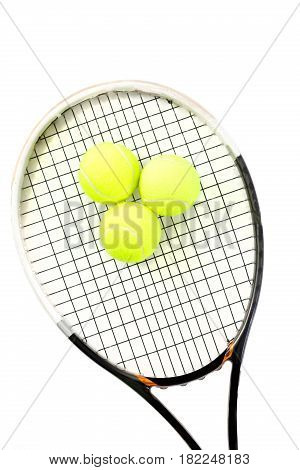 close-up of tennis racket and balls on the white background