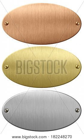 Metal, gold and bronze oval plates or plaques with clipping path included 3d illustration