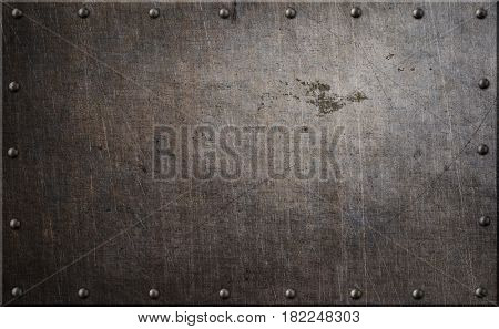 Rusty metal plate with rivets background 3d illustration