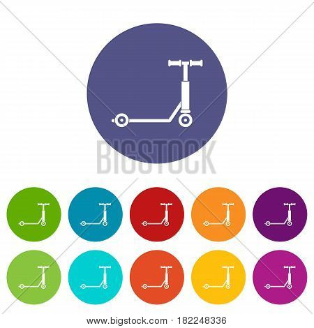 Scooter icons set in circle isolated flat vector illustration