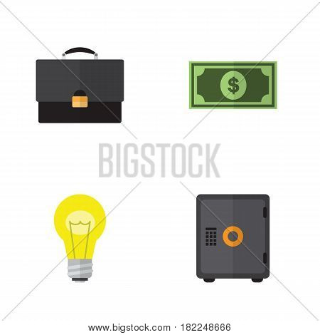 Flat Incoming Set Of Greenback, Bubl, Portfolio And Other Vector Objects. Also Includes Money, Greenback, Bank Elements.