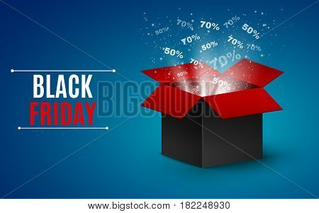 Big sale of the year. black Friday. Black and red magic box. Flying interest and glare. vector illustration. EPS 10
