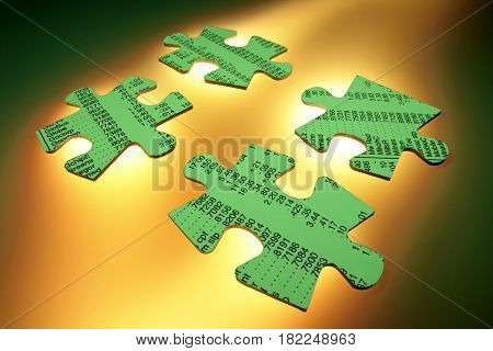 Stock Listing Jigsaw Puzzle Pieces with Warm Background