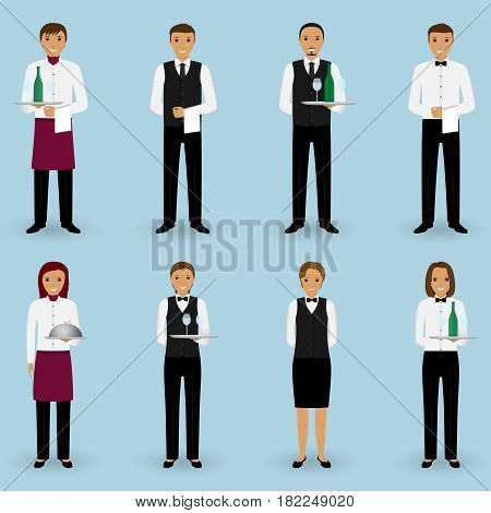 Set of waiter and waitress couple characters standing on a light blue background. Restaurant people concept. Vector illustration.