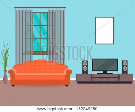 Living room interior design in flat style including furniture tv sofa houseplant and mockup empty frame. Flat vector illustration.