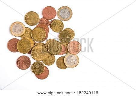 Euro cent coins set of coins euro cent heads and tails on white isolated background