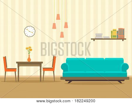 Interior design in flat style of living room with furniture sofa table bookshelf flower lamp and clock. Vector illustration.