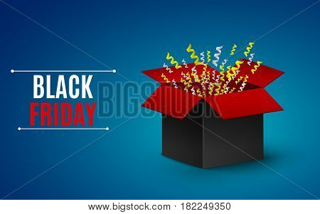 Big sale of the year. black Friday. Black-and-red box. Flying yellow and white ribbons. Big Bang. vector illustration. EPS 10