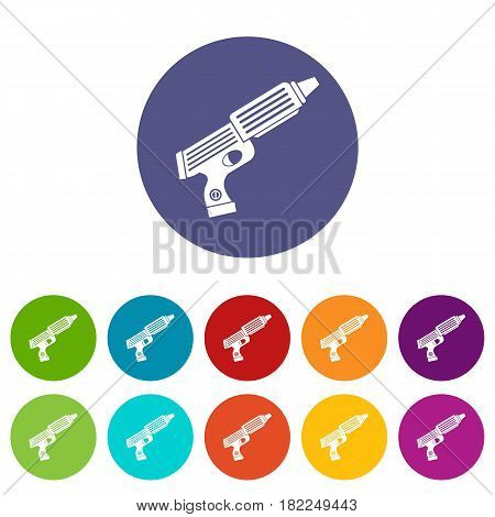 Plastic gun toy icons set in circle isolated flat vector illustration