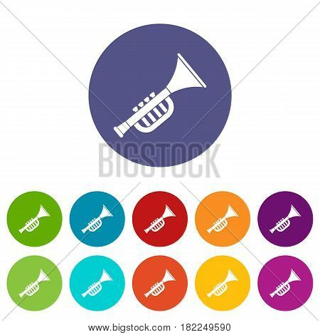 Trumpet toy icons set in circle isolated flat vector illustration