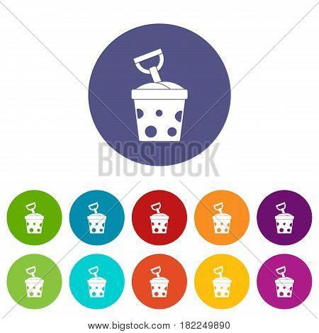ABC cubes icons set in circle isolated flat vector illustration