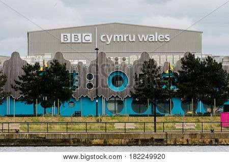 CARDIFF UK - APRIL 14 2017 BBC Cymru Wales Roath Lock Studios. Television production facility in Roath Basin at the Porth Teigr area of Cardiff Bay