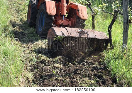 Plowing Of The Soil With Old Rotary Hoe