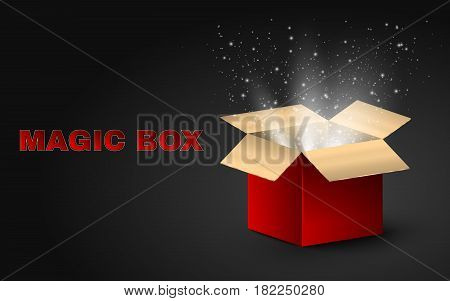A gold inside and a red magic box outside. Realistic illustration on a dark background. Beautiful glow from an open box. Flying fireflies. EPS 10