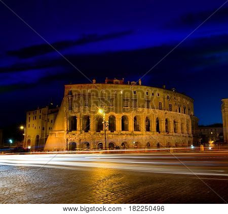 Majestic Colosseum in Rome at twilight, Italy