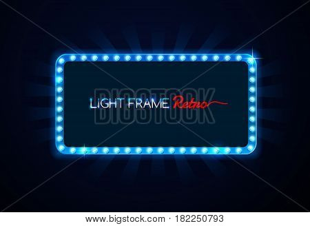 Light frame retro Shining retro light banner vector illustration
