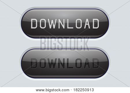 DOWNLOAD black buttons. Set of normal and active buttons. Gray interface. Vector 3d illustration