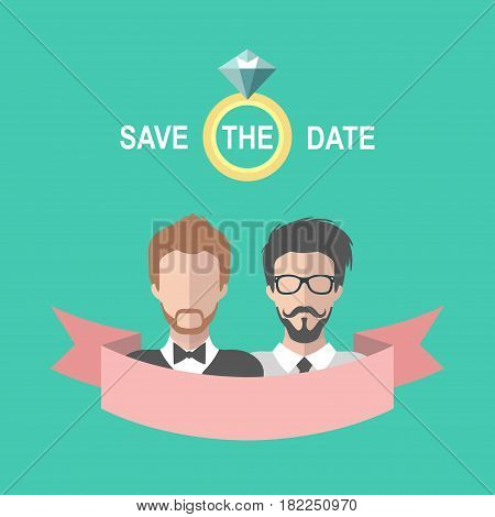 Vintage gay wedding romantic invitation card with ribbon, ring, two grooms in flat style. Save the Date homosexual invitation in vector.