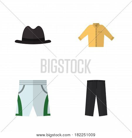 Flat Dress Set Of Trunks Cloth, Panama, Banyan And Other Vector Objects. Also Includes Pants, Panama, Fedora Elements.