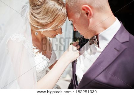 Bride Tie Buttonhole For Her Groom At Wedding Day.