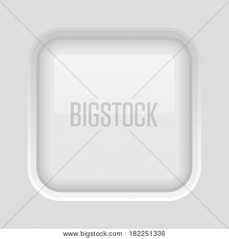 White square button. Shiny 3d icon. Vector illustration on plastic matted background